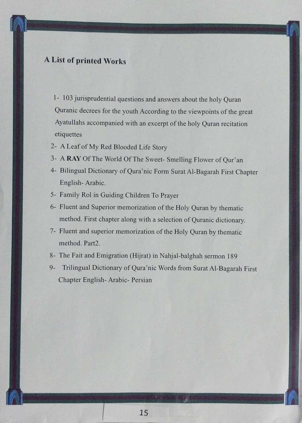 A List of printed Works